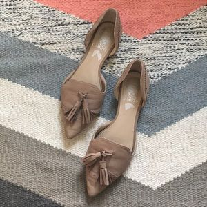 Nude Loafer Tassel Pointed-Toe Flats